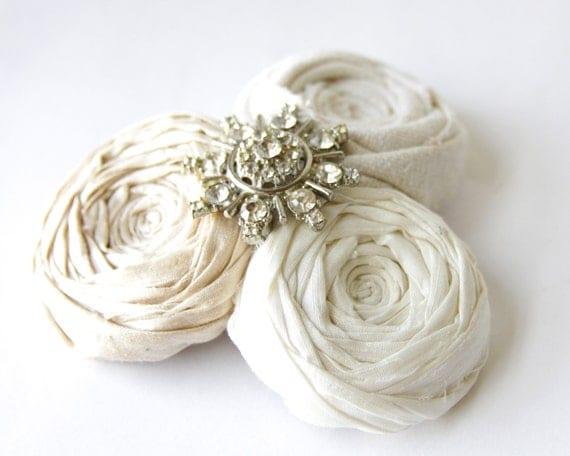 Rosette Couture Elegance Bride Hair Clip Luxurious Silk Ivory Cream Vintage Rhinestones Hair Clip Bridal Wedding Regency Ready to Ship