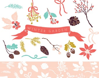 Winter Garden Clipart  and Photoshop Brushes for personal and commercial use - Christmas Holiday Clip art by Reani on Etsy