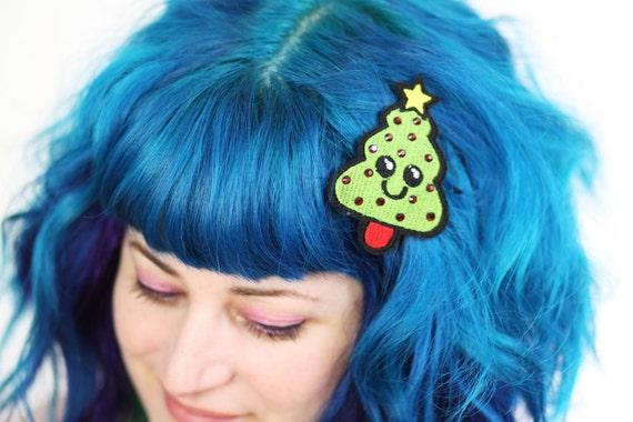 Christmas Tree Hair Clip, Christmas Barrette, Kawaii, Green With Red Rhinestones