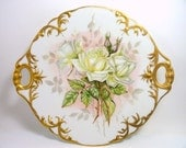 J P Limoges France Cake Plate with White Roses, Decorative Gold, Vintage, Early 1900's