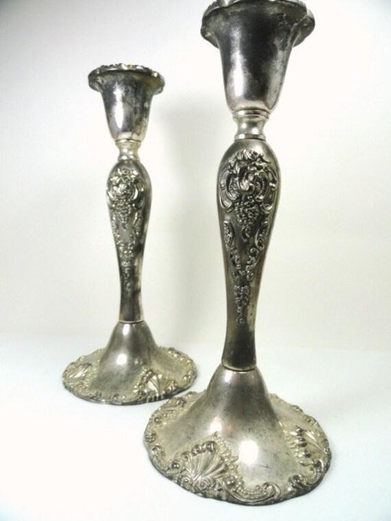 Vintage Godinger Silver Plated Ornate Candlesticks Candle Holders Shabby Chic, Vintage Home Decor