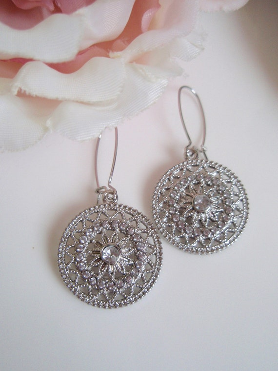 Silver Circle - Geometric Boho Earrings