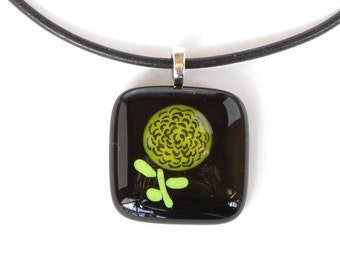 Fused Glass Pendant - Hand Painted Yellow Zinnia - Fused Glass Jewelry
