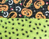 Pumpkin and Spiders Lime Green, Black and Orange   Cotton Fabric   1/2 Yard each for total of l yard Fabric