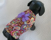 Brown Paisley Flannel  Dog Swing  Harness Vest Custom Made Great Fall and Winter Item