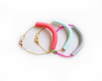 Polymer Clay Bracelet, Minimalist Tube Bracelet, Pastel Colors Bracelet