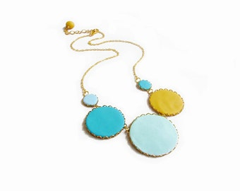 Pastel Bubbles Statement Necklace in Teal Blue Mint Yellow, Polymer Clay Statement Necklace, Color Dot Collection