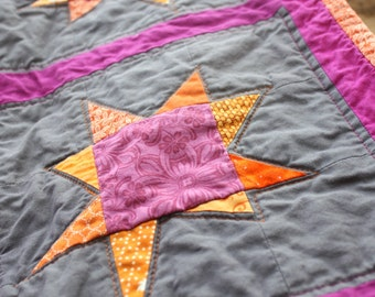 Stroller Quilt, Travel Blanket, Play Mat, Crib Quilt, Textile Wall Hanging in Orange, Pink and Gray Wonky Stars by Nstarstudio