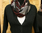 Boho Abstract Infinity Scarf mixes prints in black, cream, white, burgundy, sage, and blue