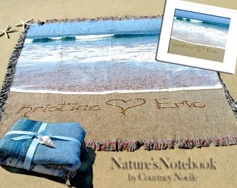 Unique Wedding Gift Custom Beach Blanket Have your names  in REAL beach Sand- Comes with Framed 8x10 photo
