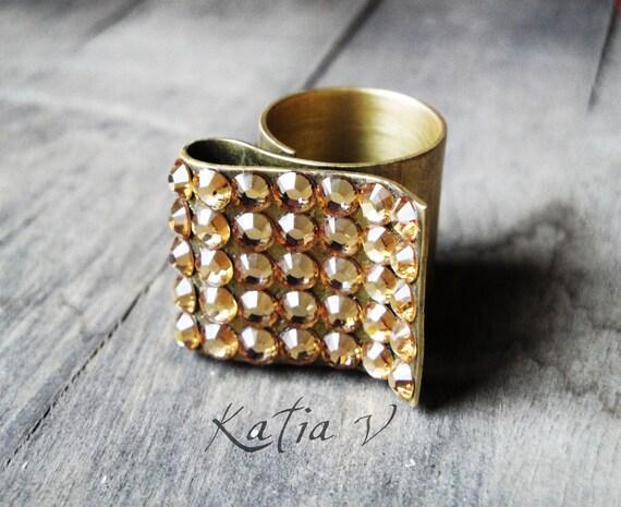 swarovski bronze 24Kt gold plated ring