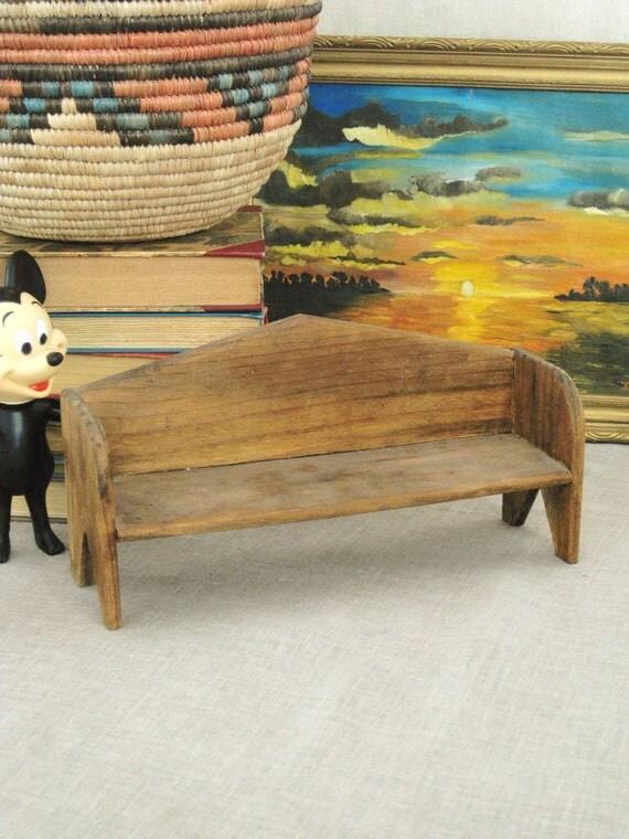 Antique Primitive Folk Art Doll Bench - Vintage Child