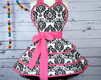 Pretty Miss Muffet Apron in Black and White Damask and Pink