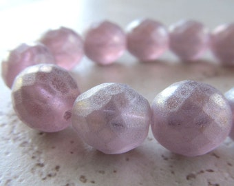Designer Czech Glass 12mm Faceted Matte Frosted & Gold Dusted Lilac Rounds - 6 Pieces