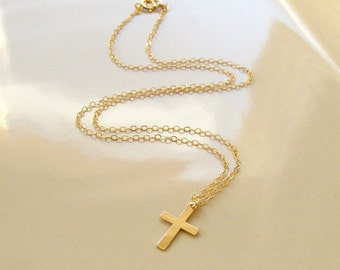 Gold Cross Necklace, Cross Necklace, 14KT Gold Filled Cross, Jewelry of Faith, Christian Jewelry, Cross Jewelry, Christian Cross Necklace