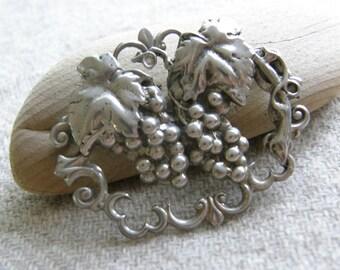 Vintage sterling grapevine brooch