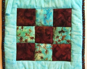 Quilted Potholder -  Checkerboard in Aqua and Brown