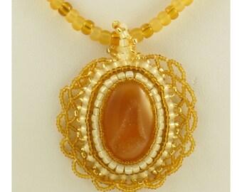 Amber Stone Druzy Cabochon Pendant Necklace