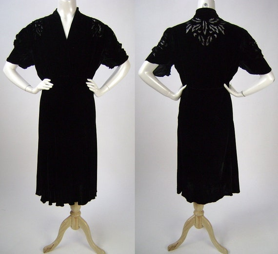40s Velvet Dress / As Is / Voided Velvet / XL
