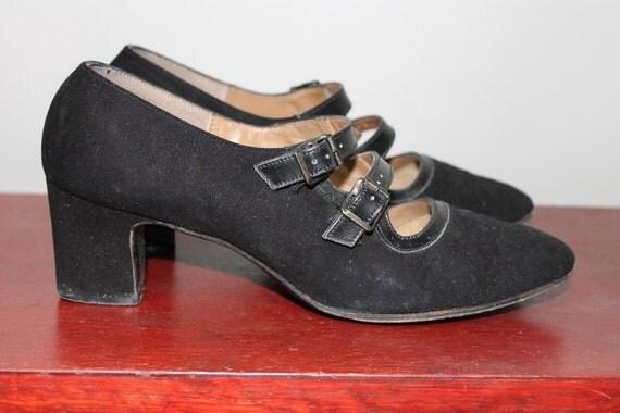 Vintage 60s Mary Jane Shoes Heels Pumps Mod School Girl Black Nubuck Leather Straps 7.5