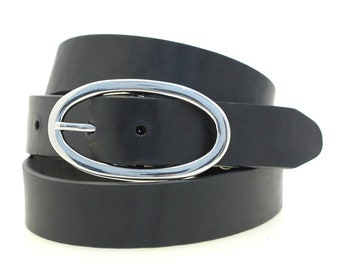 "Women's Hip Or Waist 1 1/4"" Black Latigo Leather Belt Large Round Nickel Buckle Dress Or Casual Hand Crafted In USA"