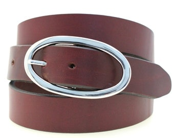 "Women's Hip Or Waist 1 1/4"" Burgundy Latigo Leather Belt Large Round Nickel Buckle Made In America Dress Or Casual"