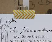 Custom Return Address Stamp - Eco Mount - Calligraphy Stamp - Birch and Bird
