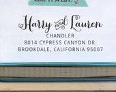 Self Inking Address Stamp - handwriting style - wedding personal housewarming gift - Chandler