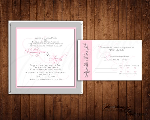 Pink and Silver Wedding Invitations, Monogram Wedding Invitations, Summer Wedding Invitations, Monogram Invitations, Fall Wedding Invitation