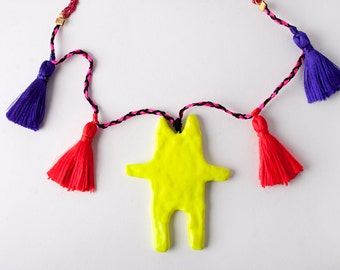 Neon Cat Pendant, Necklaces, Purple Tassels, Gift for Her, Animal, Tribal, Air Dry Clay, Handmade Jewelry Shop, Schmuck, Contemporary, Chat