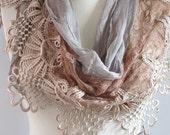 FREE Shipping..Tulle Fabric Fringed  Guipure  Scarf ..authentic, romantic, elegant, fashion