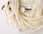 FREE...Tulle Fabric Fringed  Guipure  Scarf ..authentic, romantic, elegant, fashion