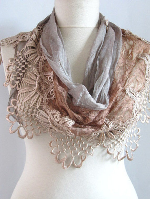 FREE Shipping..Tulle Fabric Fringed  Guipure  Scarf ..authentic, romantic, elegant, fashion