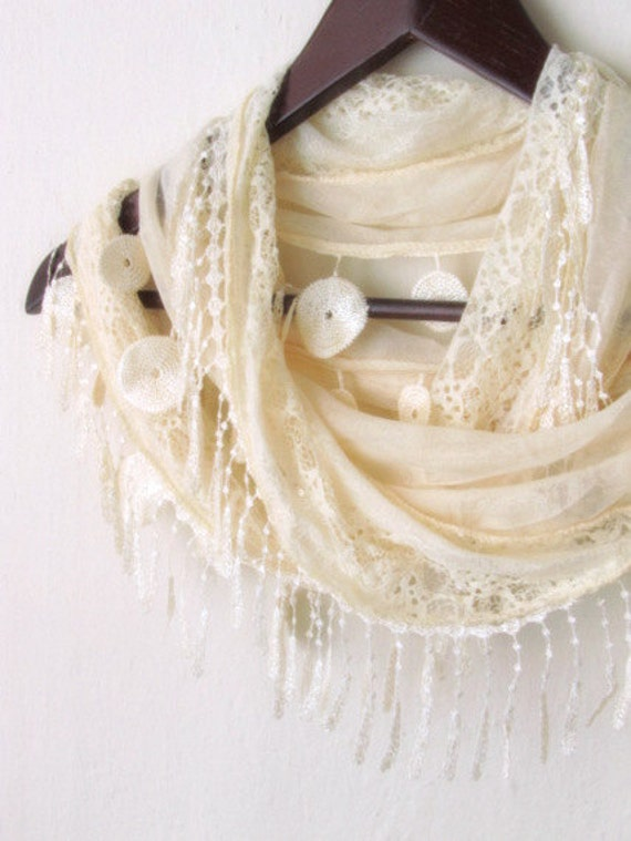 FREE...Tulle Fabric Fringed  Guipure  Scarf ..authentic, romantic, elegant, fashion