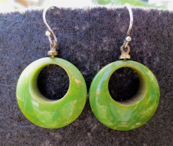 Vintage 1940's-1950's Creamed Spinach Bakelite Hoop Earrings for Pierced Ears-Green & Gold