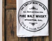 Floursack Towel Vintage Whisky Label Black White Screenprint Gift for Him - HummingbirdFactory