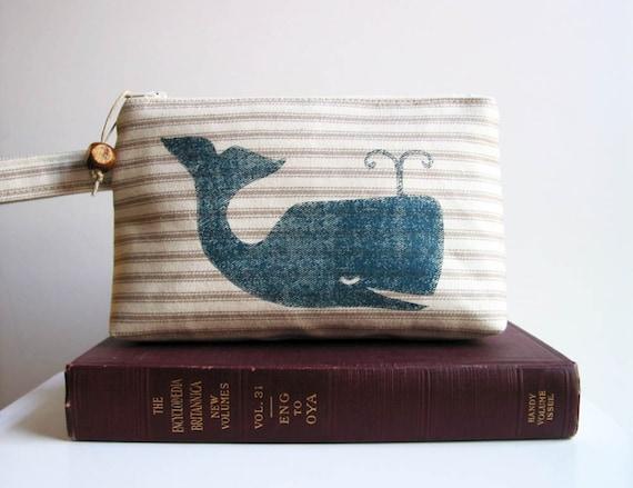 Preppy Whale Print Ticking Stripe Wristlet Clutch Purse