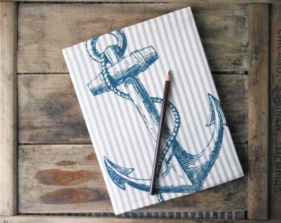 Anchor Screenprint Ticking Stripe Reusable Journal Cover