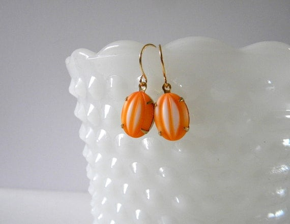 Orange and White Earrings. Gold.  Vintage.  Game Day Collection.  Tennessee.  Miami.