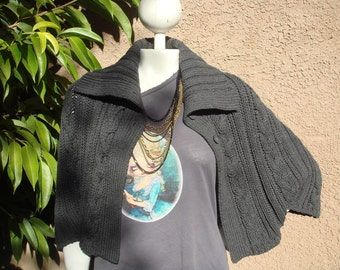 Knit Grey Cable Oversized Cape Cardigan Poncho