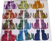 applique Cat kitten batik 24 die cut 5 inch applique quilt craft fabric pieces