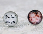 Father of the Bride, Photo Cuff Links for Dad, Daddy's Little Girl, Personalized Wedding Jewelry, Mens Accessory