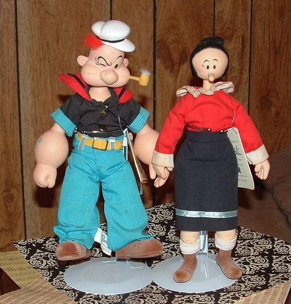 Sale Vintage Popeye And Olive Oyl Collectible Dolls By