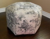 pouf, ottoman, footstool beanbag chair in black and white toile