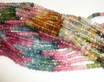 26% sale Full Strand, 3.5mm, Gorgeous Sparkling Watermelon Tourmaline Faceted Rondelles, Green, Pink, Blue, Black, Petro, Multi