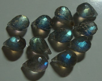 AAA Labradorite Lovely Baby Micro Faceted Teardrop Briolettes, 10 pcs - 6x4-3mm