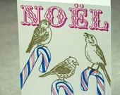 Letterpress Christmas Holiday Card - Candy Cane Birds