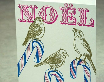 SALE - Letterpress Christmas Holiday Card - Candy Cane Birds - 60% off