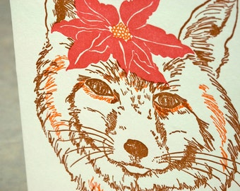 SALE - Letterpress Christmas Holiday Card - BOXED SET -  Poinsettia Fox - 50% off