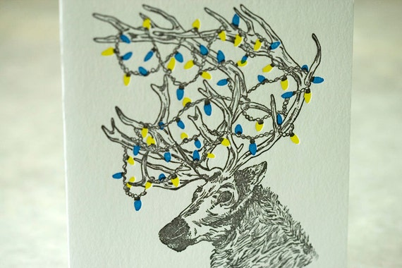 Letterpress Christmas Holiday Card -BOXED SET- Festive Reindeer